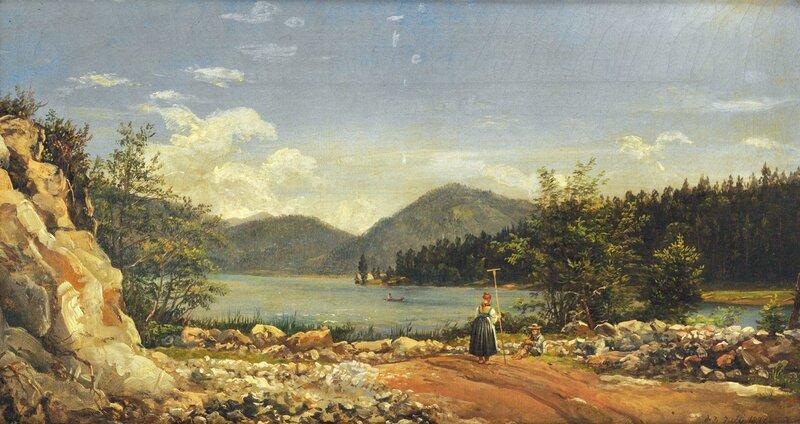 Kvinne med rive og sittende mann ved innsjø 1830