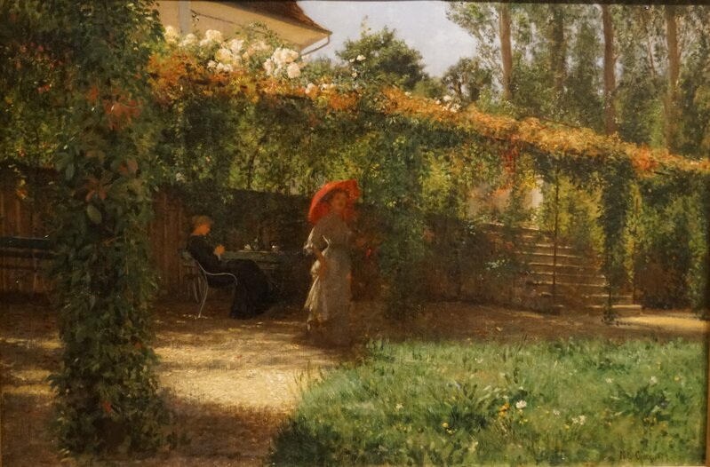 To kvinner i en hage 1879