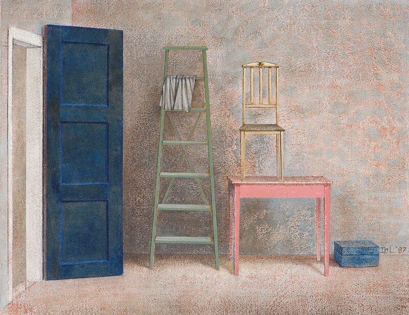 Interiør med blå dør 1987