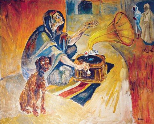Blind tigger med hund og sveivegrammofon