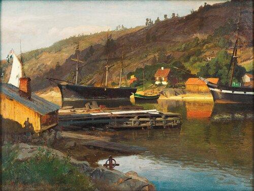 Landingsbrygge Husvik, Drøbak 1875