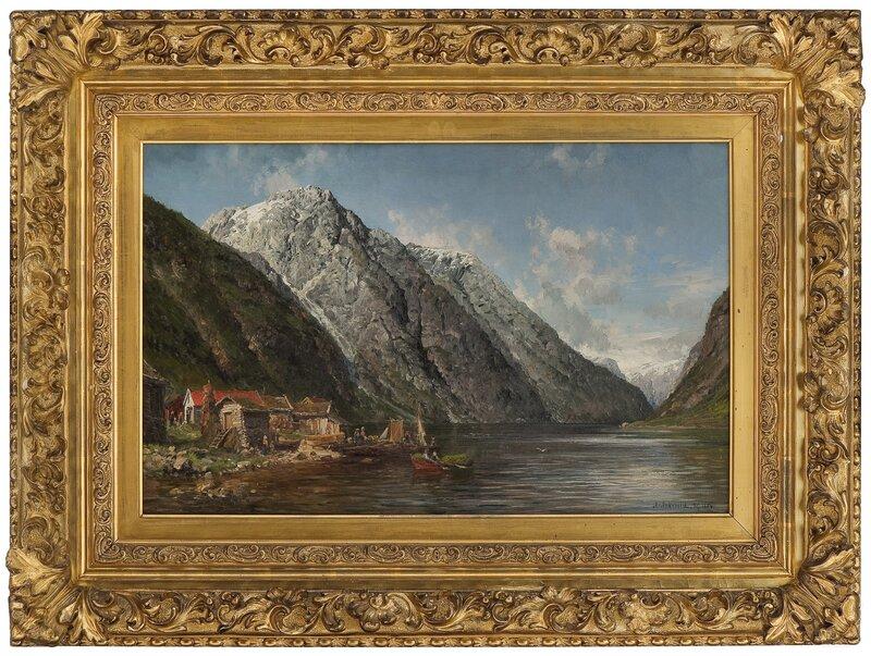 Fjordlandskap med folkeliv 1886