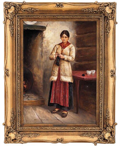 Stående, strikkende kvinne i interiør