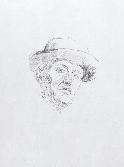 Selvportrett med hatt I