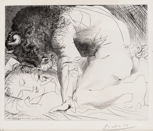 Minotaur caressing a Sleeping Woman / Minotaure caressant une Dormeuse