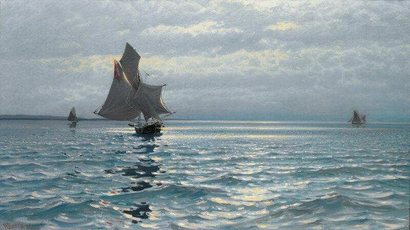 Seilskuter og glitrende sjø 1893