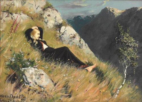 Kvinne i gresset ved Borgun 1877