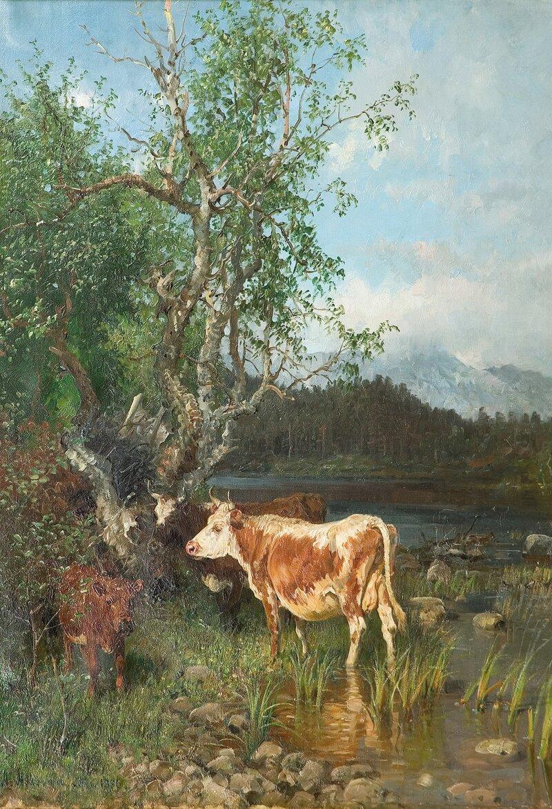 Kyr ved vanningsted 1886