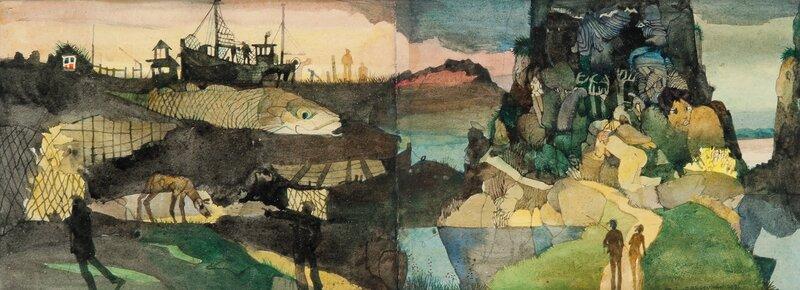 Fantasilandskap med figurer 1976