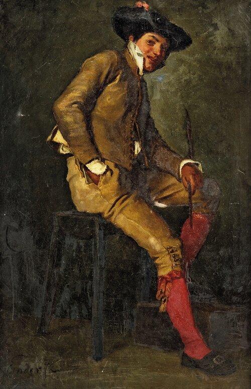 Sittende ung mann 1872