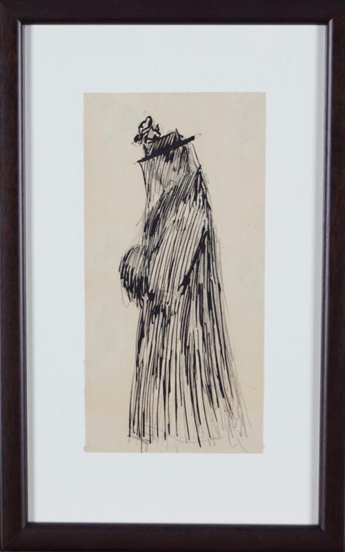 Kvinne i vinterkåpe med hatt og slør