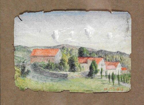 Landskap med hus 1873
