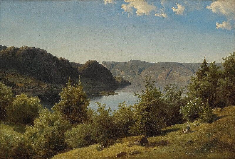 Kvinne og barn i landskap 1830