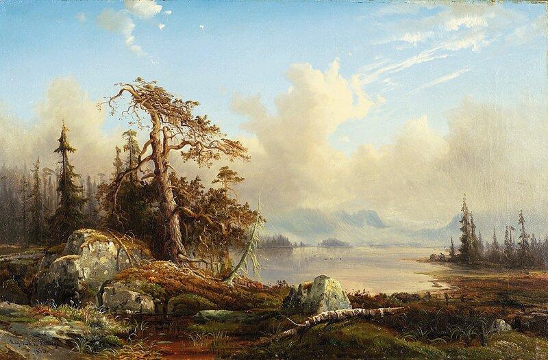 Urskog med jeger 1858